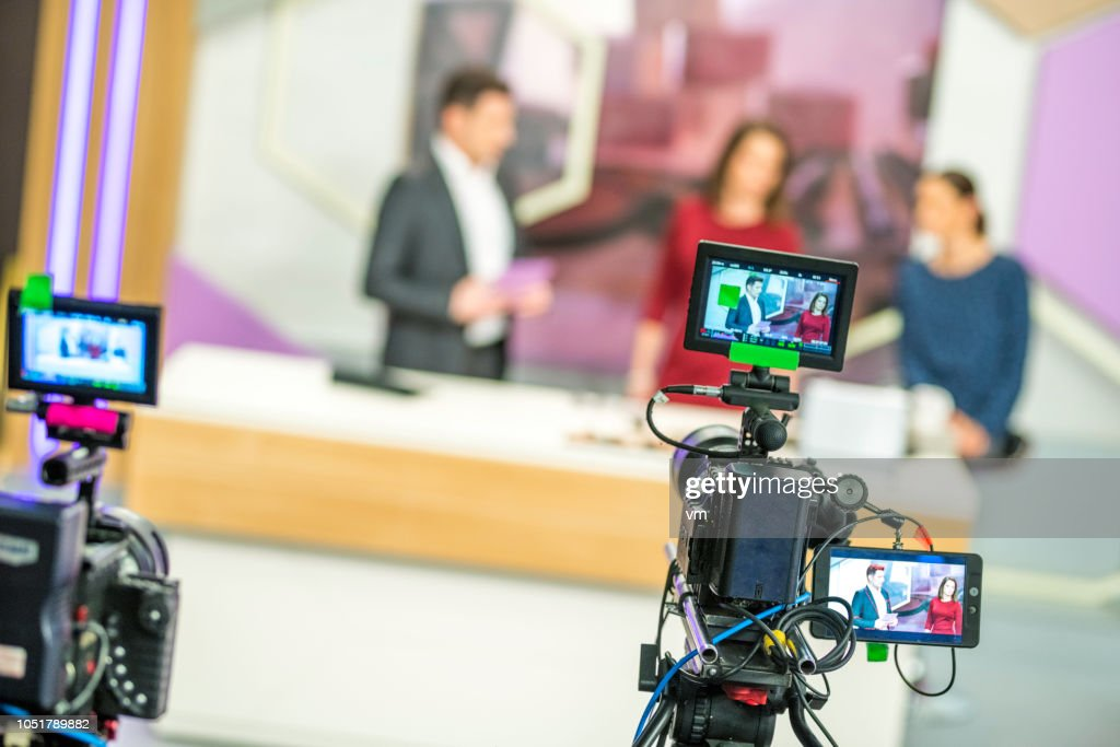 Cameras filming a television talk show : Stock Photo