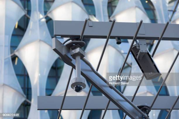 CCTV cameras keep watch over the US Embassy at Nine Elms in south London on 16th January 2018 in London England On the day when the consulate opened...