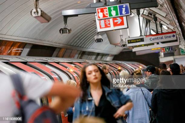 CCTV cameras operate at Oxford Circus tube station in London on August 16 2019