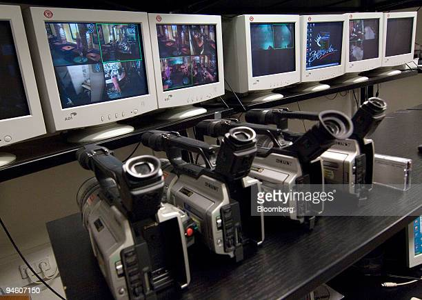 Cameras ready for shooting sit on the table in a control room at Big Sister an online erotic club in Prague Czech Republic on Tuesday Oct 2 2007 In...