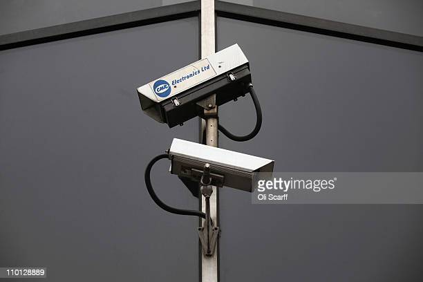 CCTV cameras survey the Old Street roundabout in Shoreditch which has been dubbed 'Silicon Roundabout' due to the number of technology companies...