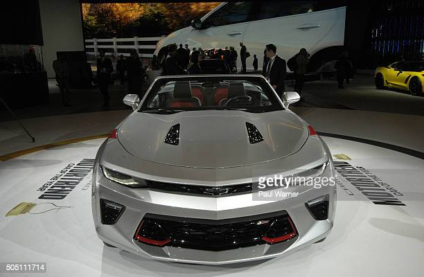 Camero is seen on Tuesday during the press preview for the 2016 North American International Auto Show at Cobo Hall on January 12 2016 in Detroit...