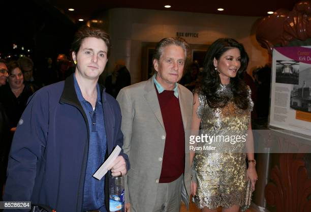 "Cameron and his father Michael Douglas and actress Catherine Zeta-Jones attend the premiere of Kirk Douglas' one man show ""Before I Forget"" at the..."