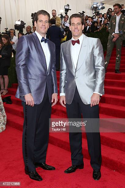 Cameron and Tyler Winklevoss attend China Through the Looking Glass the 2015 Costume Institute Gala at Metropolitan Museum of Art on May 4 2015 in...