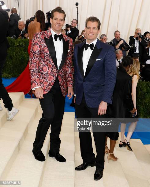"""Cameron and Tyler Winklevoss attend """"Rei Kawakubo/Commes Des Garcons: Art of the In-Between"""" at Metropolitan Museum of Art on May 1, 2017 in New York..."""