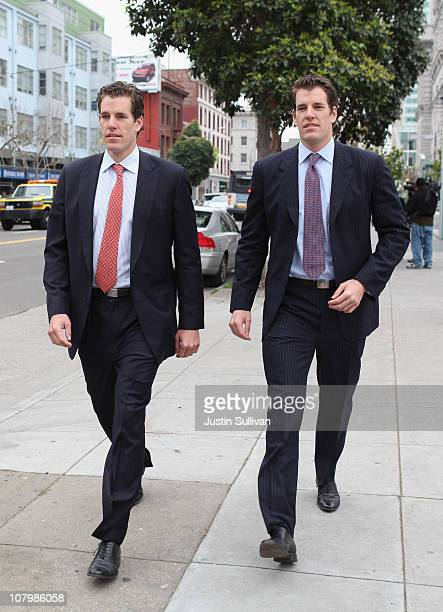 Cameron and Tyler Winklevoss leave the U.S. Court of Appeals on January 11, 2011 in San Francisco, California. Twin brothers and former Harvard...