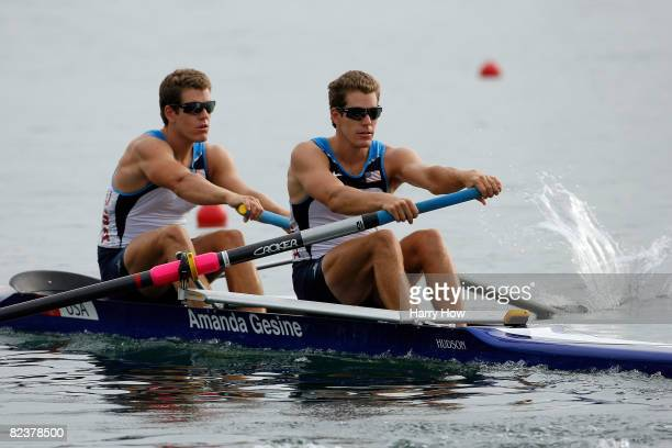 Cameron and Tyler Winklevoss of the United States compete in the men's pair final in the rowing event at the Shunyi Olympic Rowing-Canoeing Park on...