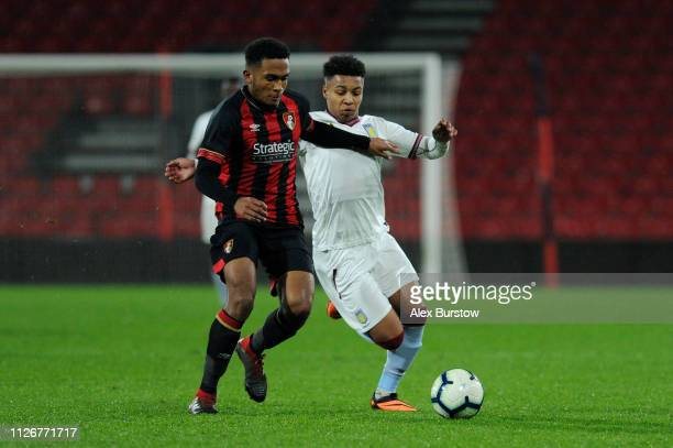 Cameron Archer of Aston Villa battles for possession with Harvey Bertrand of AFC Bournemouth during the FA Youth Cup Fifth Round Match between AFC...