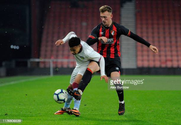 Cameron Archer of Aston Villa battles for possession with Jake Cope of AFC Bournemouth during the FA Youth Cup Fifth Round Match between AFC...