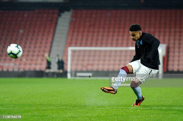 Cameron Archer of Aston Villa warms up prior to the FA Youth Cup Fifth Round Match between AFC Bournemouth U18 and Aston Villa U18 at Vitality...