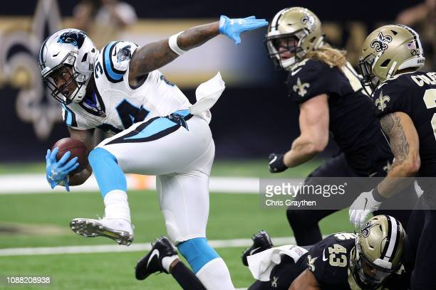 Cameron ArtisPayne of the Carolina Panthers scores a touchdown against the New Orleans Saints during the first half at the MercedesBenz Superdome on...