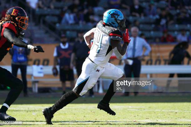 Cameron Artis-Payne of the Dallas Renegades carries the ball against the LA Wildcats at Dignity Health Sports Park on February 16, 2020 in Carson,...