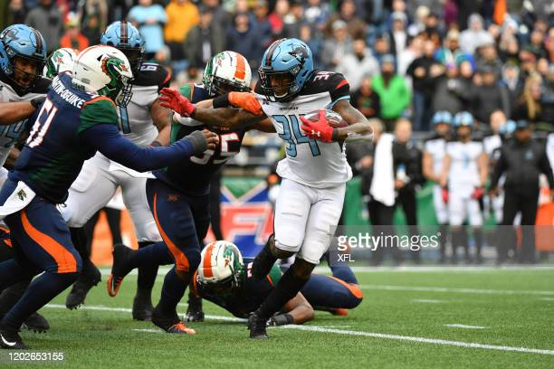Cameron Artis-Payne of the Dallas Renegades carries the ball during the XFL game against the Seattle Dragons at CenturyLink Field on February 22,...