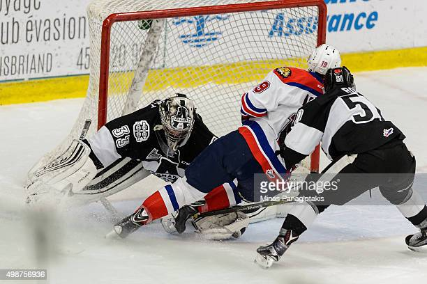 Cameron Askew of the Moncton Wildcats gets a shot on goaltender Samuel Montembeault of the Blainville-Boisbriand Armada and scores during the QMJHL...