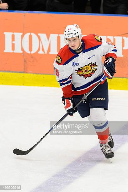 Cameron Askew of the Moncton Wildcats skates during the warmup prior to the QMJHL game against the Blainville-Boisbriand Armada at the Centre...