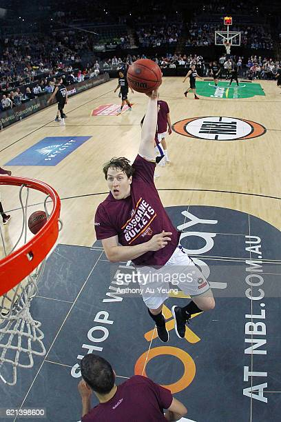 Cameron Bairstow of Brisbane during warm up prior to the round five NBL match between the New Zealand Breakers and the Brisbane Bullets at Vector...