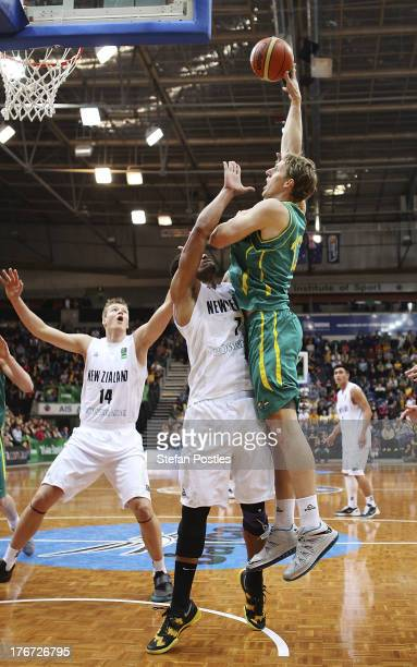 Cameron Bairstow of the Boomers puts up a shot during the Men's FIBA Oceania Championship match between the Australian Boomers and the New Zealand...