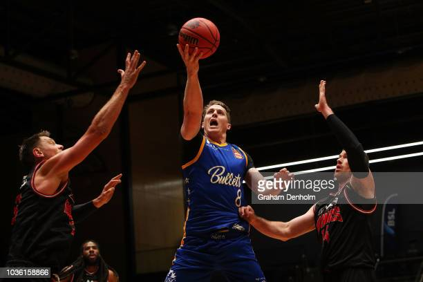 David Wear of the Sydney Kings in action during the NBL Blitz preseason match between the Sydney Kings and Cairns Taipans at Bendigo Stadium on...