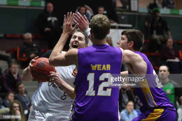 Cameron Bairstow of the Brisbane Bullets drives at the basket during the 2018 NBL Blitz match between Sydney Kings and Brisbane Bullets at Ballarat...