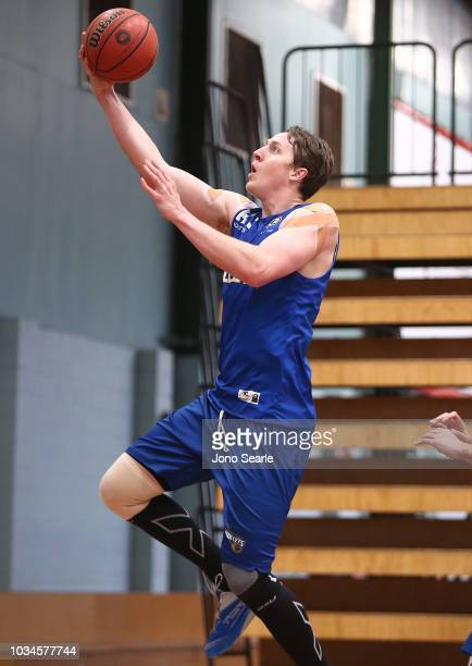Cameron Bairstow of the Bullets shoots the ball during a Brisbane Bullets NBL training session on September 17 2018 in Brisbane Australia