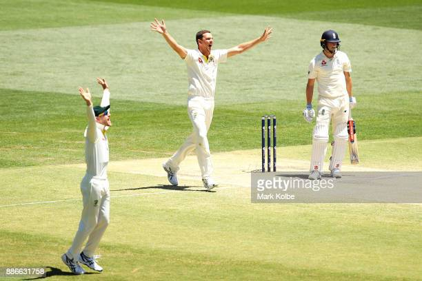 Cameron Bancroft and Josh Hazlewood of Australia appeal successfully for the wicket of Chris Woakes of England during day five of the Second Test...
