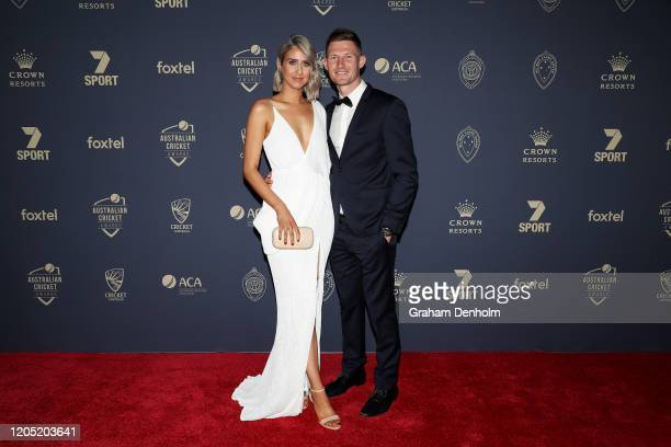 Cameron Bancroft and partner Caitlin Paris arrive ahead of the 2020 Cricket Australia Awards at Crown Palladium on February 10 2020 in Melbourne...