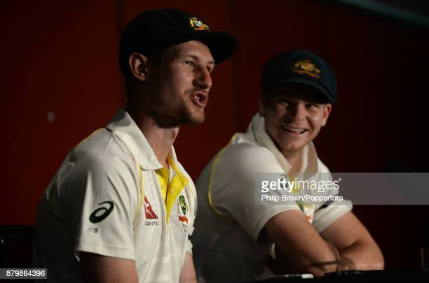 Cameron Bancroft and Steve Smith of Australia in a press conference after Australia won the first Ashes cricket test match between Australia and...