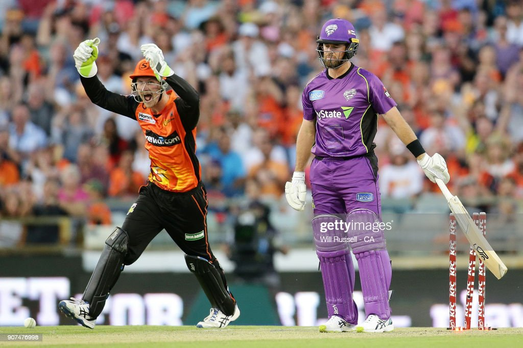 Cameron Bancroft celebrates after Ashton Agar of the Scorchers takes the wicket of Dan Christian of the Hurricanes during the Big Bash League match between the Perth Scorchers and the Hobart Hurricanes at WACA on January 20, 2018 in Perth, Australia.