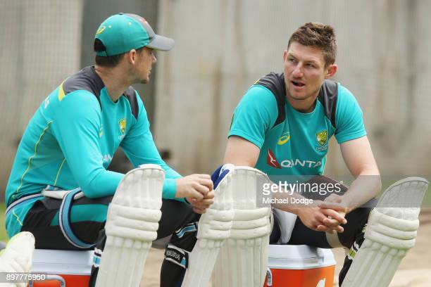 Cameron Bancroft looks a after ball he hit struck Steve Smith on his wrist while sitting in the nets during an Australian nets session at the...