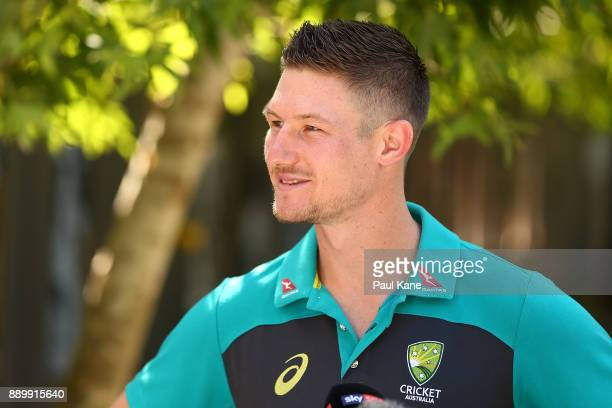 Cameron Bancroft of Australia addresses the media after being added into the WACA ground's Test Player Walk during a media opportunity at the WACA on...