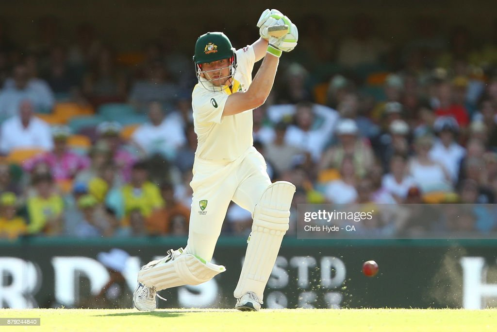 Cameron Bancroft of Australia bats during day four of the First Test Match of the 2017/18 Ashes Series between Australia and England at The Gabba on November 26, 2017 in Brisbane, Australia.