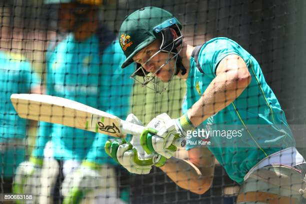 Cameron Bancroft of Australia bats in the nets during an Australian Nets Session ahead of the Third Test in the 2017/18 Ashes Series at on December...