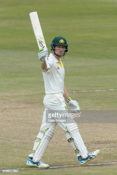 Cameron Bancroft of Australia celebrates his 50 runs during day 3 of the 1st Sunfoil Test match between South Africa and Australia at Sahara Stadium...