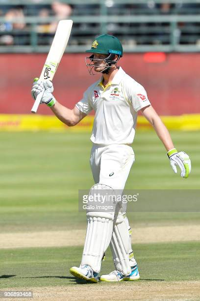 Cameron Bancroft of Australia celebrates scoring a half century during day 2 of the 3rd Sunfoil Test match between South Africa and Australia at PPC...