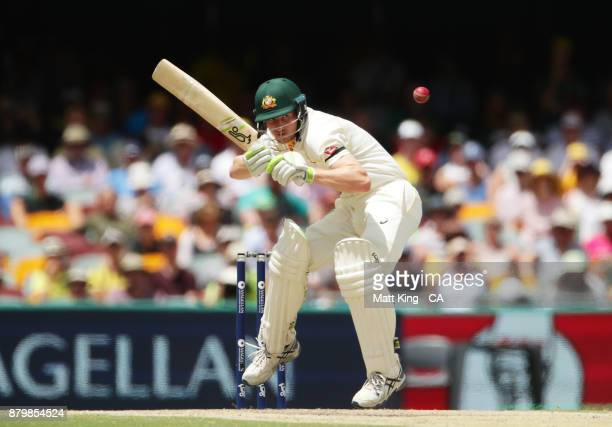 Cameron Bancroft of Australia ducks under a bouncer during day five of the First Test Match of the 2017/18 Ashes Series between Australia and England...