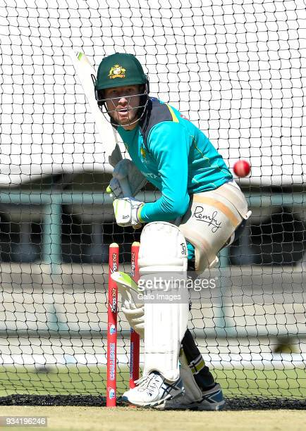 Cameron Bancroft of Australia during the Australian national men's cricket team training session at PPC Newlands Stadium on March 19 2018 in Cape...
