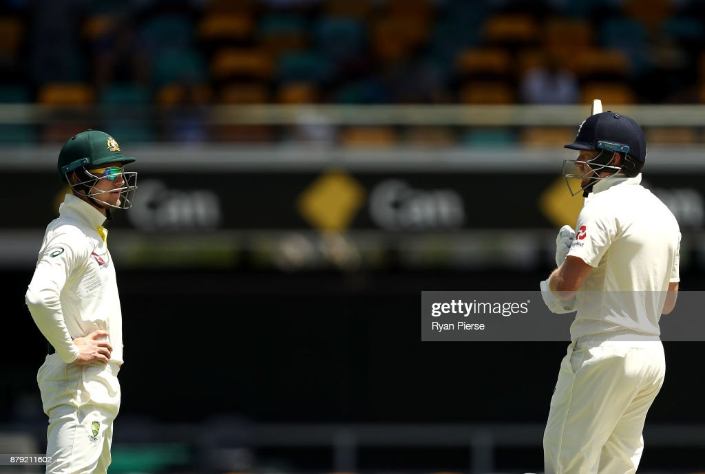 Cameron Bancroft of Australia has words with Jonny Bairstow of England during day four of the First Test Match of the 2017/18 Ashes Series between Australia and England at The Gabba on November 26, 2017 in Brisbane, Australia.