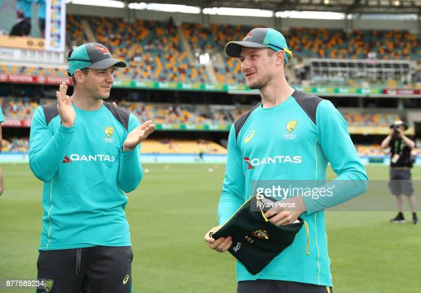 Cameron Bancroft of Australia is presented with his Baggy Green Cap during day one of the First Test Match of the 2017/18 Ashes Series between...