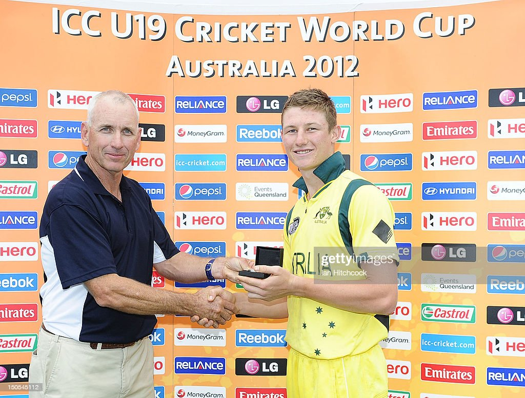 Cameron Bancroft of Australia is presented with the Man of the Match award at the end of the ICC U19 Cricket World Cup 2012 Semi Final match between Australia and South Africa at Tony Ireland Stadium on August 21, 2012 in Townsville, Australia.