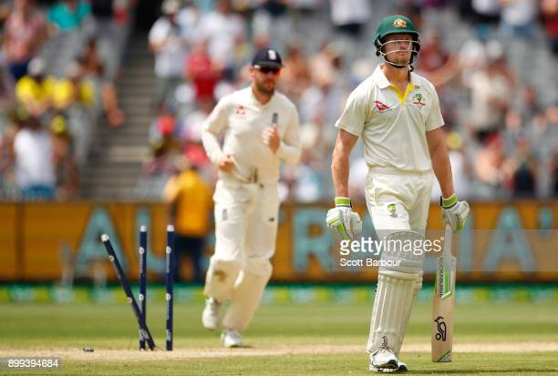 Cameron Bancroft of Australia leaves the field after being dismissed by Chris Woakes of England during day four of the Fourth Test Match in the...