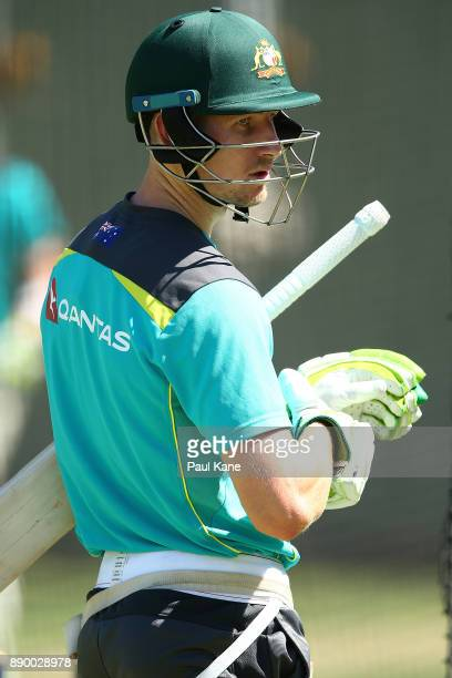 Cameron Bancroft of Australia looks on after batting practice during an Australian nets session at WACA on December 11 2017 in Perth Australia