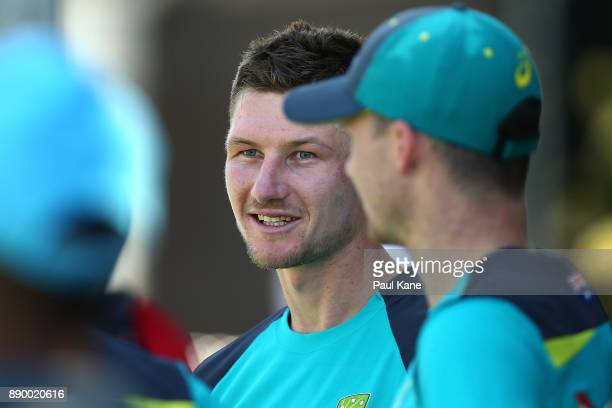 Cameron Bancroft of Australia looks on during an Australian nets session at WACA on December 11 2017 in Perth Australia