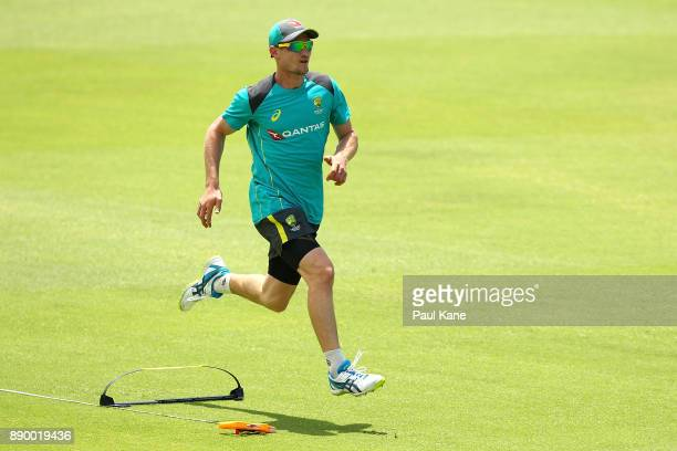 Cameron Bancroft of Australia particpates in a running drill during an Australian nets session at WACA on December 11 2017 in Perth Australia