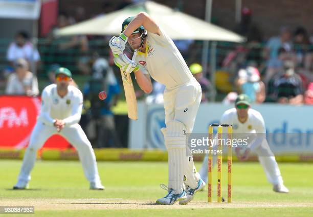 Cameron Bancroft of Australia plays a shot during day 3 of the 2nd Sunfoil Test match between South Africa and Australia at St Georges Park on March...