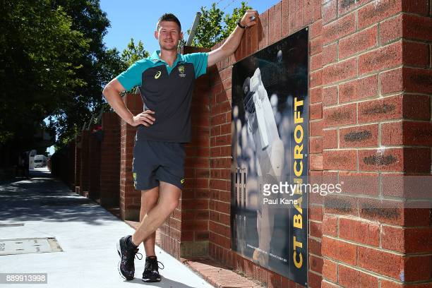 Cameron Bancroft of Australia poses after being added into the WACA ground's Test Player Walk during a media opportunity at the WACA on December 11...