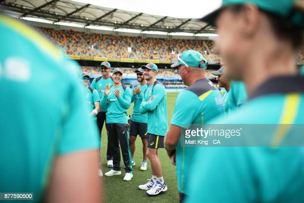 Cameron Bancroft of Australia receives his baggy green cap during day one of the First Test Match of the 2017/18 Ashes Series between Australia and...