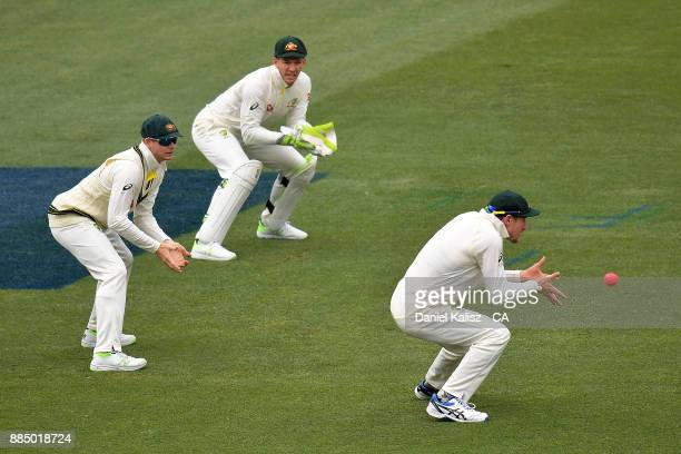 Cameron Bancroft of Australia takes a catch to dismiss Joe Root of England of the bowling of Patrick Cummins of Australia during day three of the...