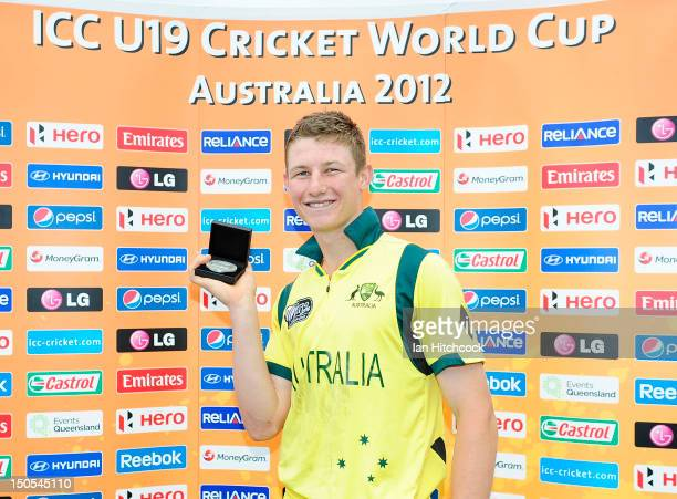 Cameron Bancroft of Australia with the Man of the Match award at the end of the ICC U19 Cricket World Cup 2012 Semi Final match between Australia and...