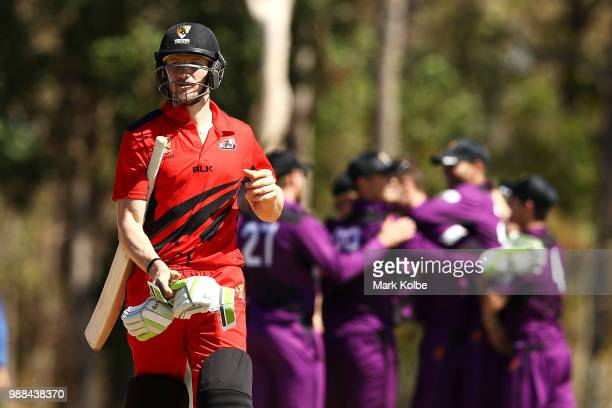 Cameron Bancroft of the Desert Blaze looks dejected as he leaves the field after being dismissed during the Strike League match between the Desert...