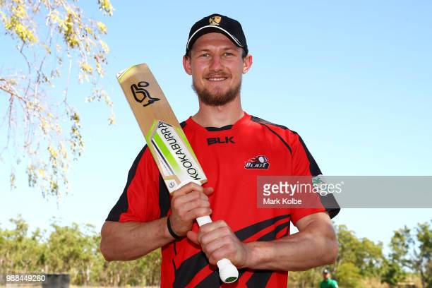 Cameron Bancroft of the Desert Blaze poses after speaking to the media after the Strike League match between the Desert Blaze and the Southern Storm...